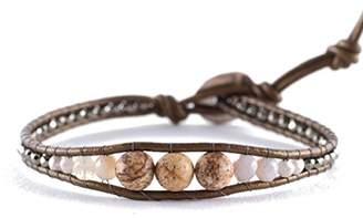 Chan Luu Picture Jasper Mix Single Wrap Bracelet on Kansa-Color Leather