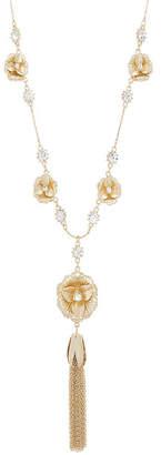 Catherine Malandrino Women White Rhinestone Flower Design Yellow Gold-Tone Tassel Necklace