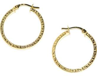 PORI JEWELERS Pori Jewelers 14K Solid Gold 2X24Mm Greek Key Design Hoop Earrings
