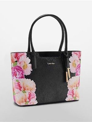 Calvin KleinCalvin Klein Womens Floral Saffiano Leather Winged Tote Black Flower