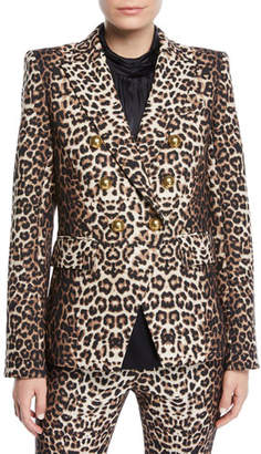 Veronica Beard Miller Double-Breasted Leopard-Print Jacket