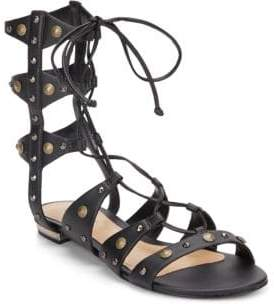 Schutz Samena Studded Leather Lace-Up Gladiator Sandals