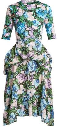 Balenciaga Floral Print Wrap Around Jersey Dress - Womens - Multi