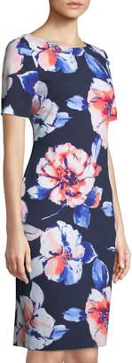 Tahari ASL Floral-Crepe Short-Sleeve Sheath Dress