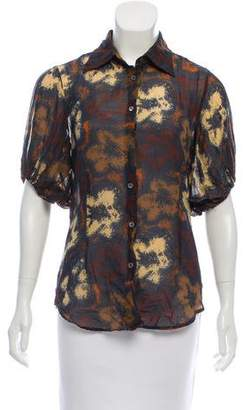 Hache Printed Short Sleeve Button-Up