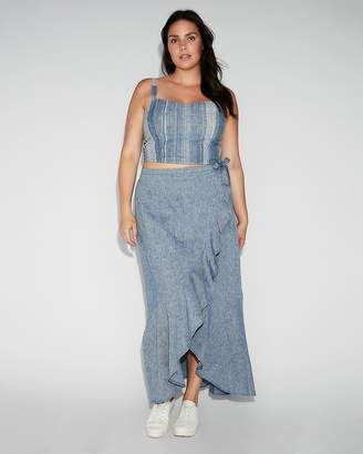 Express Chambray Ruffle Wrap Maxi Skirt