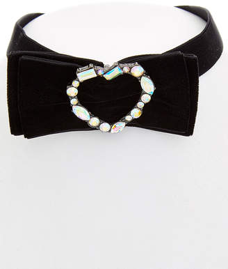 Betsey Johnson Roses Cz Bow & Heart Choker