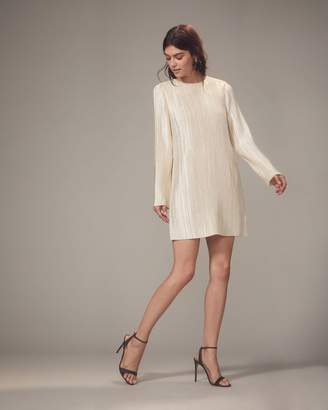 Tibi Champagne Plisse Pleat Mini Dress