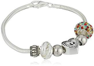 CHARMED BEADS Sterling Always My Mom Forever Simulated Gemstone and Bead Bracelet