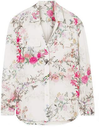 Equipment Tabitha Simmons Slim Signature Printed Washed-silk Shirt - Pink
