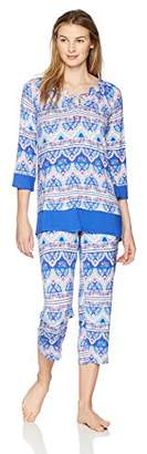 Ellen Tracy Women's Batik Paisley Tunic Pajama Set