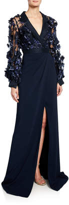 Badgley Mischka Long-Sleeve Shirtdress with Petal Top & Draped Tulip Skirt