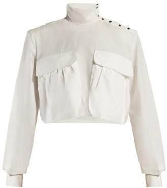 44cfc165134e7e Fendi Cropped High Neck Cotton Poplin Shirt - Womens - White