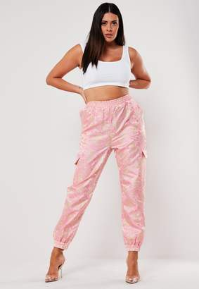Missguided Plus Size Pink Jacquard Cargo Satin Trousers