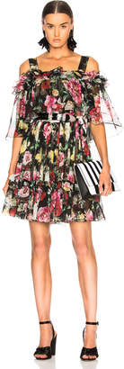 Dolce & Gabbana Silk Chiffon Floral Cold Shoulder Mini Dress