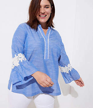 LOFT Plus Crochet Chambray Bell Sleeve Top