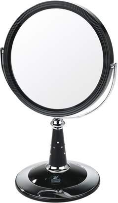 Danielle UV Finish Pedestal Mirror with Swarovski Elements Black/Chrome True Image x7 Magnified 29cmx17.5cm