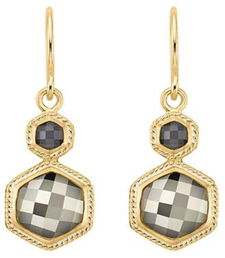 Anna Beck 18K Yellow Gold Plated Sterling Silver Bezel Set Sapphire & Pyrite Double Drop Earrings