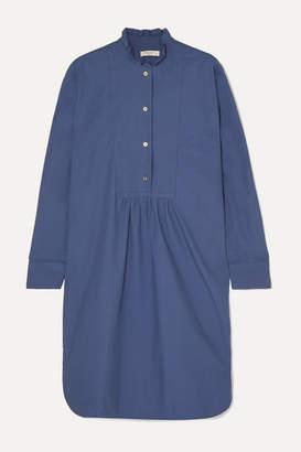 Atlantique Ascoli Ruffled Gathered Cotton-poplin Dress - Blue