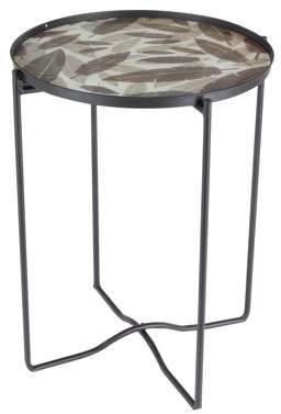 DecMode Decmode Contemporary 24 x 19 inch black iron and glass round accent table with leaf details, Black