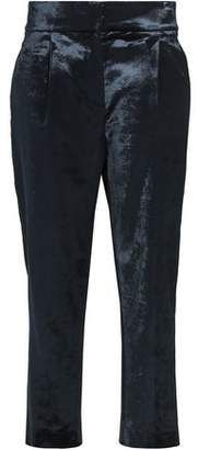 Brunello Cucinelli Cropped Cotton-Blend Crushed-Velvet Tapered Pants