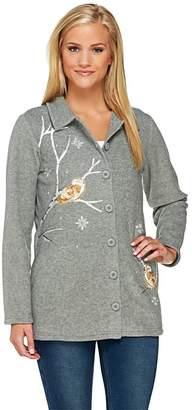 Factory Quacker Winter Birds Embroidered Fleece Jacket