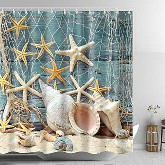 ABxinyoule Seashell Conch Starfish Shower Curtain Fishing Nets Beach Ocean Decor Waterproof Mildew Fabric Bathroom.