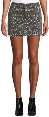 Mother The Vagabond Leopard-Print Mini Skirt
