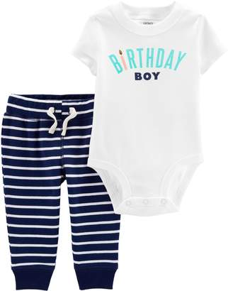 "Carter's Baby Boy Birthday Boy"" Bodysuit & Striped Pants Set"