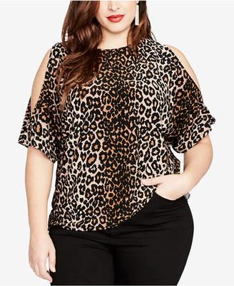 Rachel Roy Trendy Plus Size Cold-Shoulder Leopard-Print Top
