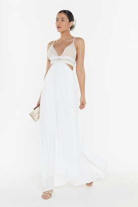 Nasty Gal Womens Open Bar Two-Part Bridal Dress - Beige - 8, Beige