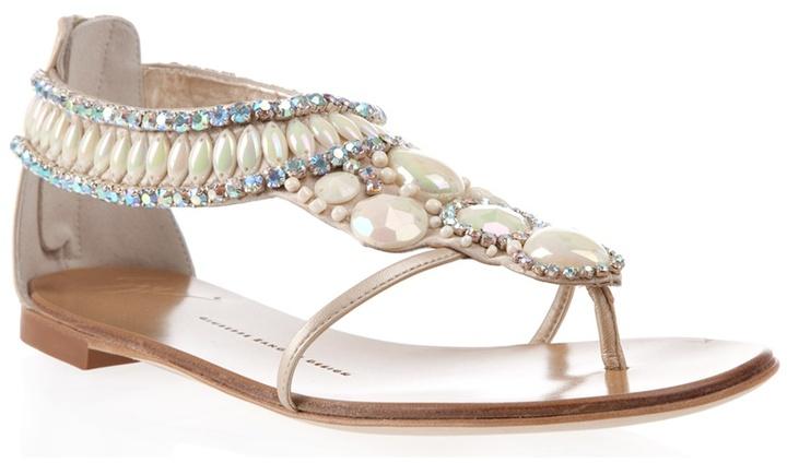 GIUSEPPE ZANOTTI DESIGN - Embellished flat sandals