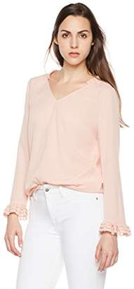 Suite Alice Long Sleeve V Neck Gathered Collar Ruffle Sleeve Blouse