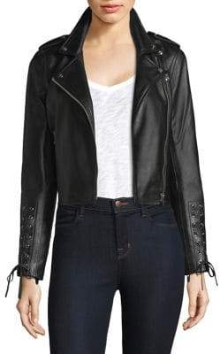 The Mighty Company Lace-Up Sleeve Leather Jacket