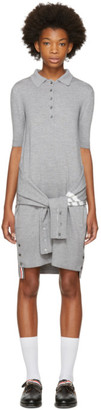 Thom Browne Grey Two-in-One Cardigan & Polo Dress $1,390 thestylecure.com