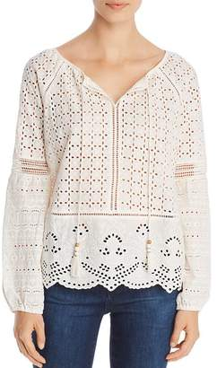 Single Thread Eyelet Embroidered Peasant Top
