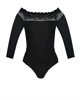 Magic Long Sleeve Wavy Lace Bodysuit