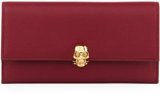 Alexander McQueen Grained Leather Skull-Clasp Continental Wallet, Red
