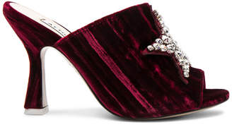 ATTICO Velvet Debbie Mules with Star Embroidery