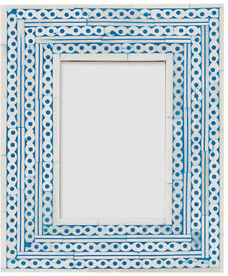 One Kings Lane 4x6 Maddox Inlay Picture Frame - Sky/Ivory