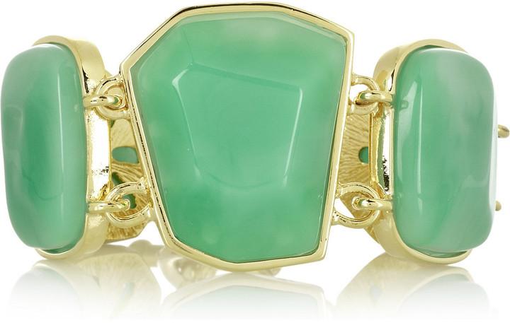 Kenneth Jay Lane 22-karat gold-plated stone bracelet