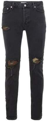 Topman Mens Black Camouflage Patched Skinny Jeans
