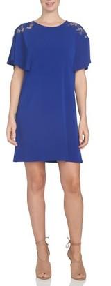 Women's Cece Lace Shoulder Knit A-Line Dress $99 thestylecure.com