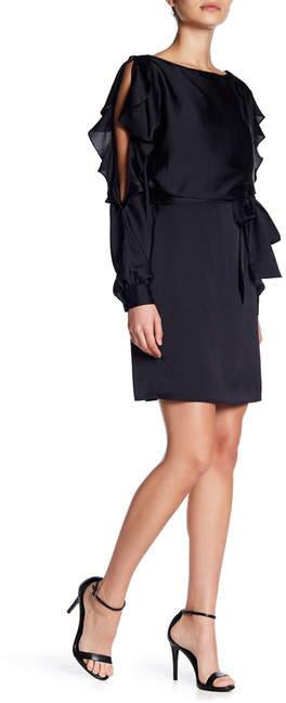 bebe Cold Shoulder Ruffle Blouson Dress