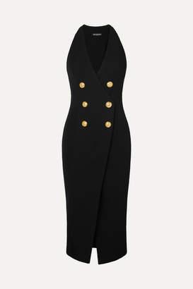Balmain Button-embellished Stretch-knit Midi Dress - Black