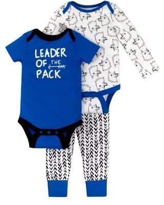 Little Star Organics Long Sleeve Bodysuit, Short Sleeve Bodysuit, & Pants, 3pc Outift Set (Baby Boys)