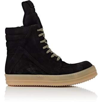 Rick Owens Men's Geobasket Reverse-Leather Sneakers
