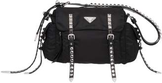 Prada Messanger New Vela With Black Studs, Rubber Shoulder Strap With Studs, Studded Front Pocket With Zip. Strap Cm28