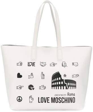 Love Moschino logo print shopper tote