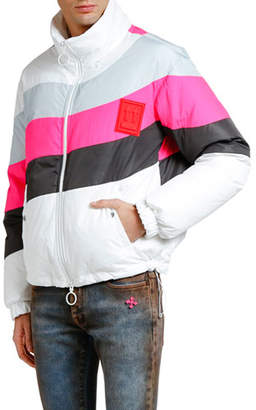 Off-White Men's Colorblock Quilted Puffer Anorak Jacket
